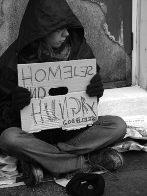 A homeless person in the U.S.